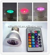 16 Colors changing RGB LED Lamp 3W E27 85-265V white light bulb RGB LED Bulb Lamp Spot with Remote Control
