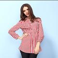mulheres listra vermelha e branca plus tamanho chiffon elegante escritório blusas