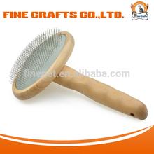 Ergonomical Medium Size Wooden Handle Soft Slicker Dog Grooming Brush