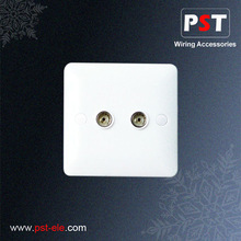 UK Wall Coaxial Socket ,Twin Outlet