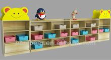 Kindergarten Furniture Cartoon Design Solid Wood Toy Cabinet