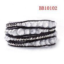 Handmade jewelry make leather braided bracelet with beads alibaba in spanish