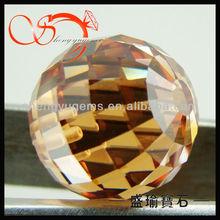 checkerboard cut champagne half hole cz stone ball(CZBA0005-12mm15#)