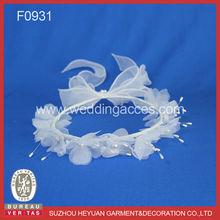 F0931 Beautiful Crown Headpiece with Organza Fabric Flowers