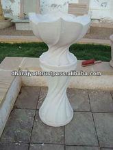 Mint Sandstone Antique Shaped Carved Flower Urn