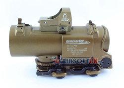 Airsoft 1-4X Elcan Specter DR Type Red Illuminated Riflescope w/ Light Sensitive Red Dot Scope Docter Reflex #Tan, 1-4X32F2