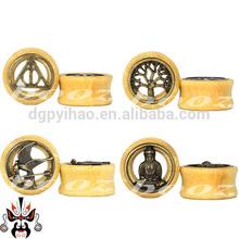 Organic bamboo wood butterfly ear plug piercing tunnel body jewelry