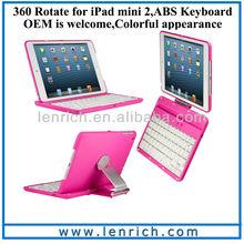 LBK145 For iPad Mini 2 spanish keyboard for ipad mini 2 360 rotate keyboard case stand