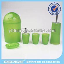 China 4pcs set green acrylic crystal pattern bathroom manufacturer