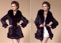 QD29369 Fashion Dress Women Rabbit Fur Coats With Fox Fur Trim from China