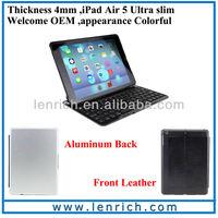 LBK167 Air Kee For ipad air case keyboard ultra slim keyboard case/9.7 inch tablet pc accessories Super slim aluminum keyboard