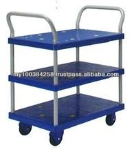 Prestar Double Handle PVC 3 Shelf Trolley