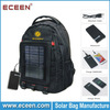 Factory sells high quality 5 watts nylon solar backpack, solar travel bag with 5000mah battery