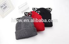 England Tide brand Rihanna with diamond ear Lace knitting wool hat autumn and winter fashion women's hats