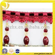 red beads fringe,curtain trimming,decorative beaded fringe