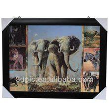 New arrival PS art framed 3d prints of animal elephant
