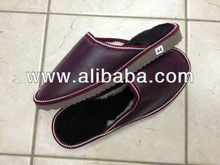 Handmade Burgundy Leather - Mouton Sheepskin Lined Slippers ( All Sizes & Colours )