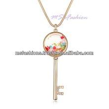 Swarovski Element Ingredient Branding Partner crystal key necklace crysta key sweater chain crysta key pendant - PD2555