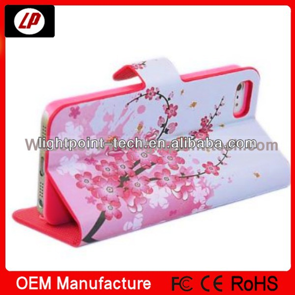 Hotsales Flower Leather Wallet phone case for iphone5