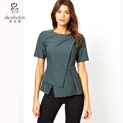 M3025 New designs girls fashion short sleeve sexy wonder woman corset tops with origami peplum made in China 2015 OEM