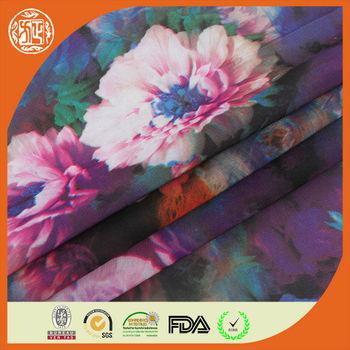 2014 Fashion silk chiffon floral printed fabric