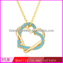 Double hearts entangled shaped Lemon Topaz 18K Gold Plated necklace FPN493