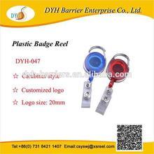 Custom transparent carabineer badge reel with textile strap