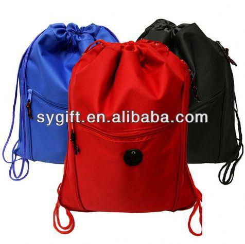 2014 New Product purple satin+mesh drawstring bag