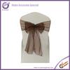 3556 chocolate wholesale cheap sparkle organza wedding chair sashes