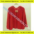 Lã / acrílico senhoras design de moda red poncho Cardigan sweater em estilo Retro