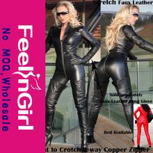 Stylish Sexy Black Zipper Closure Faux Leather Catsuit