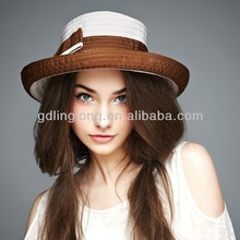 coffee and ivory brim fabric hats for holiday on sale