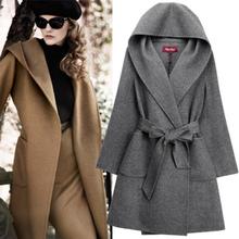 women fashion coats 2014 hooded long coat double faced wool fabric