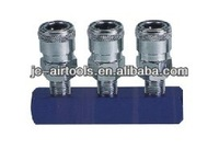 3 way Manifold with Nitto air release quick coupler, two touch mini coupling