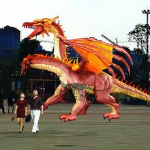 Outdoor Red Dragon Statue for Dinosaur Garden