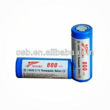 2014 New Aosibo 800mAh 14500 Battery/3.7v icr 14500 li-ion rechargeable battery/3.7v 800mah aa 14500 lithium ion batteries
