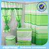 Polyester shower curtain with matching window curtain