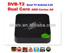 2014 China 1080p Dual core aml8726MX DVB t2 android tv box mini pc set top box android 4.22 Smart TV receiver dvb-t2 for russia