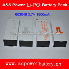 UL approved 603048 li-polymer batteries 1S2P 1800mAh 3.7V with plastic case for Xbox 360 headset