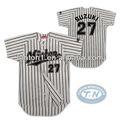 Venda quente! Personalizado da equipe/faculdade clássica sublimada dry fit pinstripe camisola do basebol/uniformes atacado