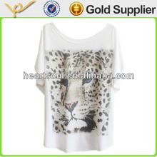 Custom 100% cotton white women printed tshirt