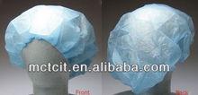 white color disposable non-woven non-allergic nurse cap with fitted elastic
