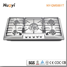 NUOYI New design! stove needle valve table gas stove/Home appliance 5 burners Stainless steel gas burner cooking range