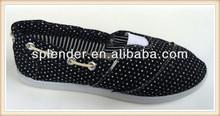 girls black slip-on flats dot print injection shoes manufacturer