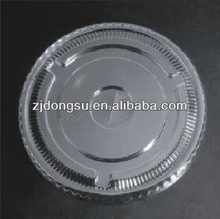 China made factory directly high transparency and durability flat PET cup lid wit 98mm diameter