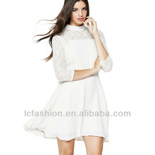 2014 Lace Panel Skater Dress Three-quarter Length Sleeves