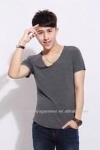 2014 fashion trend of urban men's V-neck Short sleeve blank T-shirt