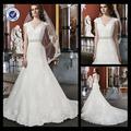 em0095 cap manches en dentelle robe de mariée pour larges épaules long train robes de mariage cristal perlé