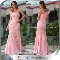 2014 New Woman One shoulder Ruffled Beaded Technics Bodycon Mermaid Luxurious Wedding Gowns