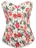 2014 Hot Sale Red Attractive Flower Printed Denim Sexy Corsets and Bustiers (1396)